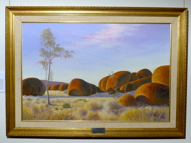 Devil's Marbles, 1977 by Myrtle Noske 60 x91cm oil on canvas